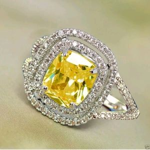 Yellow cz 925 silver ring